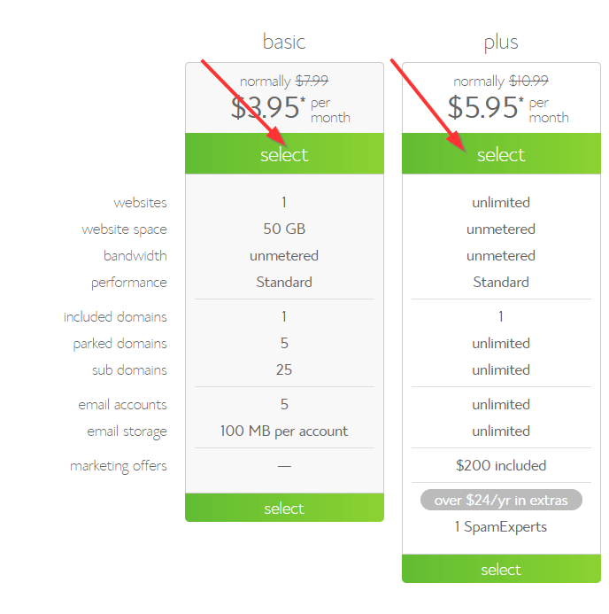 bluehost hosting options