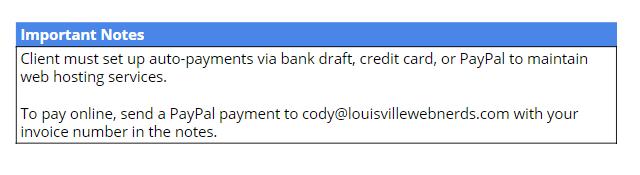 payment notes screenshot